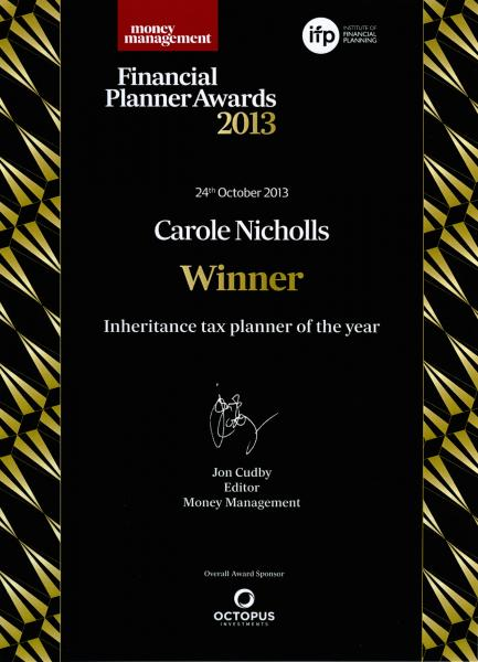 Money Management Inheritance Tax Planner Award 2013
